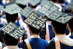 grads wearing their debt amount on head